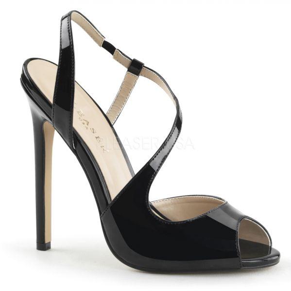 SEXY-10 schwarz Lack     High-Heel Slingback Sandalette in schwarz Lack von Pleaser USA